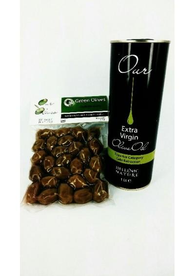 Hellenic Nature,  1 liter extra virgin olijfolie met pakje kalamon olijven met pit  250gr.